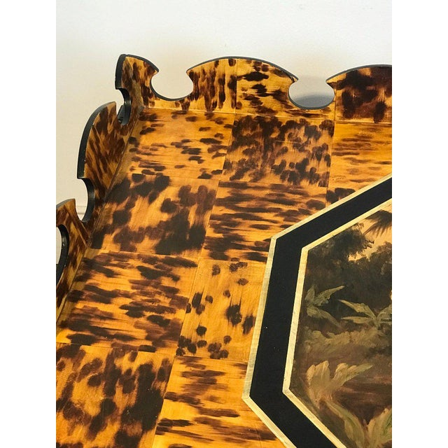 Traditional Regency Style Tortoiseshell & Jaguar Motif Coffee Table by William Skilling For Sale - Image 3 of 11