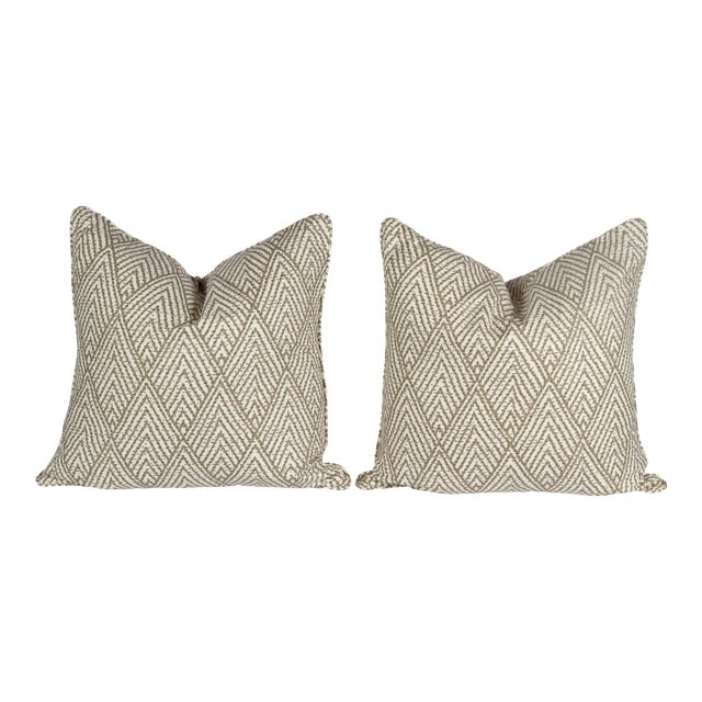 Tahitian Stitch Ikat Pillows - A Pair For Sale