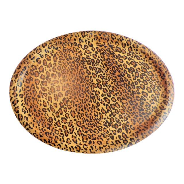 (Final Markdown Taken) Vintage 1980's Leopard Design Regency Tray For Sale