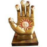 Image of Signed Sergio Bustamante Ceramic Hand With Faces Sculpture For Sale