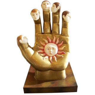 Signed Sergio Bustamante Ceramic Hand With Faces Sculpture For Sale
