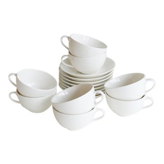 1990s White Bone China Blond Cups & Saucers by Reliefgruppen for Design House Stockholm - Set of 8 For Sale