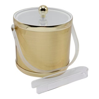 Mid Century Gold & Lucite Ice Bucket For Sale