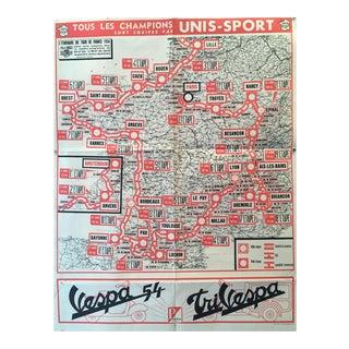 1954 Vintage French Tour De France Map