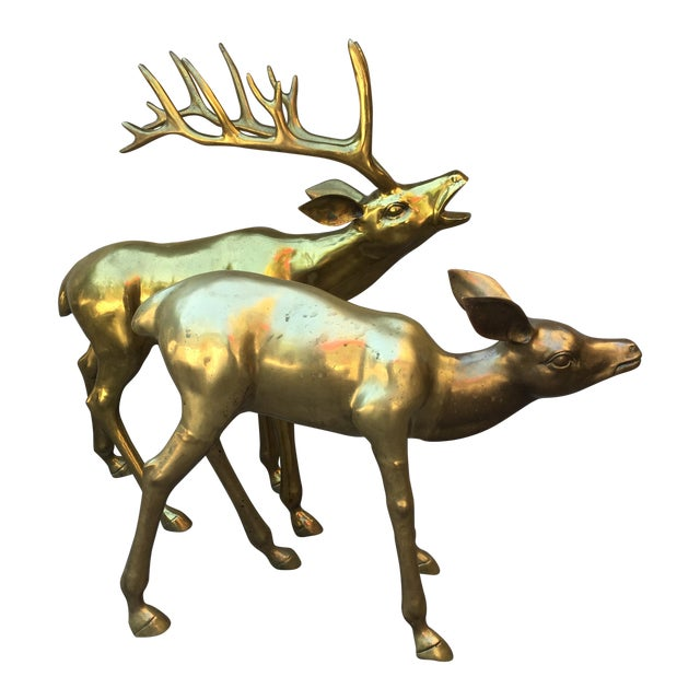 Hollywood Regency 2.4' Tall Brass Elk Couple - Image 1 of 9