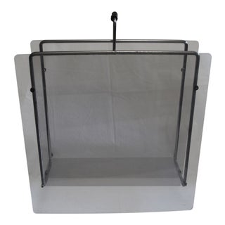 Mid-Centruy Modern Chrome With Acrylic Glass Magazine Rack For Sale