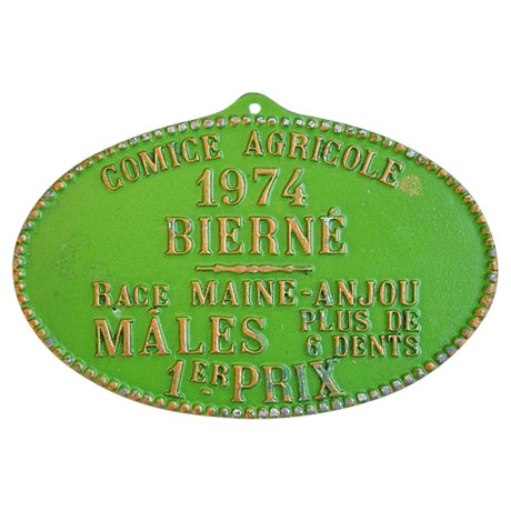 1974 Lime Green French Trophy/Award Price Plaque - Image 1 of 3