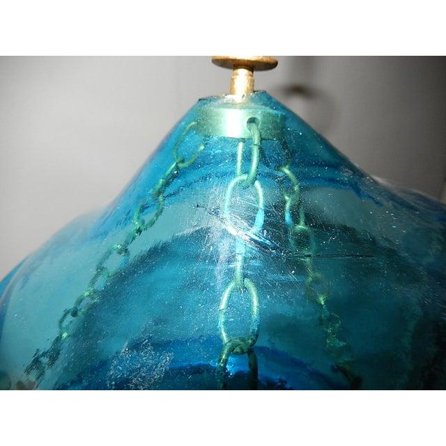 English Cobalt Blue Bell Jar Lantern Chandelier For Sale - Image 10 of 13