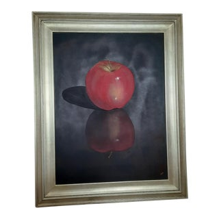 """Apple No. 1"" Contemporary Fruit Still Life Acrylic Painting, Framed For Sale"