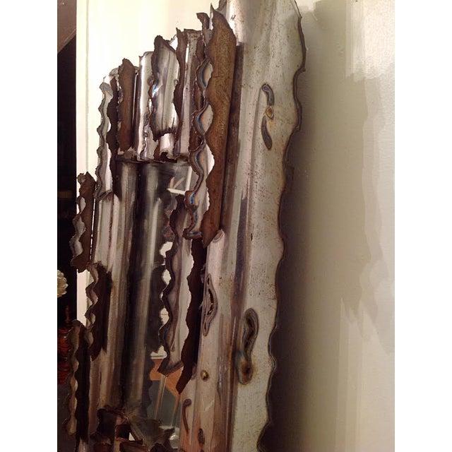 Tom Greene Vintage Brutalist Metal Wall Mirror - Image 5 of 9