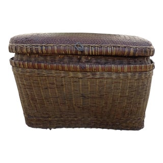 Antique Chinese Woven Split Bamboo Trunk For Sale