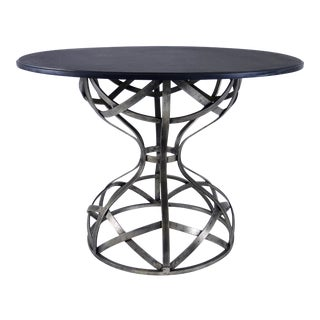 Sculptural Steel and Slate Center Table For Sale