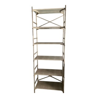 Industrial Made Goods Kenneth Bookcase in Matte Silver Steel With Six Faux Shagreen Shelves For Sale