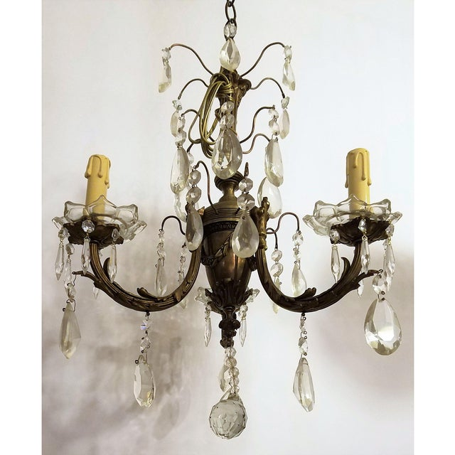 Circa 1910 Empire Style Baroque Bronze & Crystal Chandelier For Sale In Chicago - Image 6 of 6