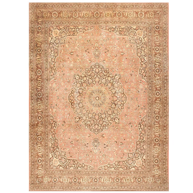 White Antique Persian Tabriz Dusty Rose Rug - 13′7″ × 17′ For Sale - Image 8 of 8