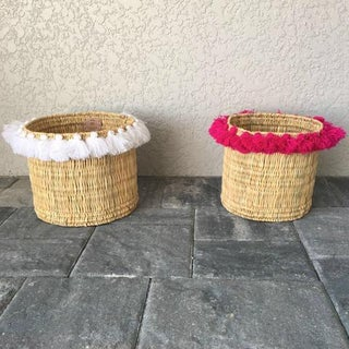 Moroccan Large Fuchsia Tassel Basket Preview