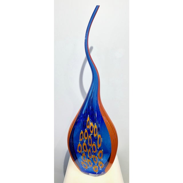 Dona Modern Art Glass Blue and Orange Sculpture Vase With Red and Yellow Murrine For Sale - Image 12 of 12