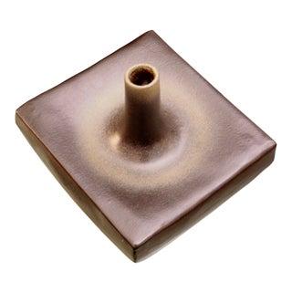 Sculptural Modernist Square Pottery Vase For Sale