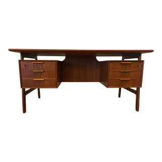 Omann Jun Model 75 Teak Double Sided Desk, Made in Denmark For Sale