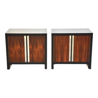 Rosewood & Chrome Nightstands - a Pair For Sale