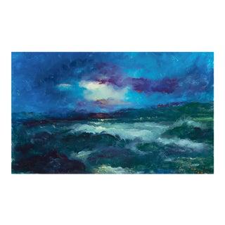 'Sunset, San Francisco Bay' by Victor Papkov, 1988; Impressionist Seascape For Sale