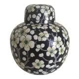 Image of Vintage Japan Porcelain Ware Black & White Flower Blossoms Lidded Ginger Jar For Sale