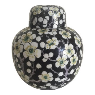 Vintage Japan Porcelain Ware Black & White Flower Blossoms Lidded Ginger Jar For Sale