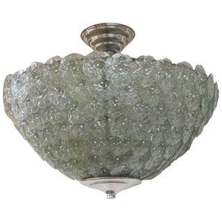 Handblown Murano Floral Green Pendant Light For Sale