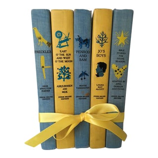 Vintage Blue & Yellow Children's Classic Books - Set of 5