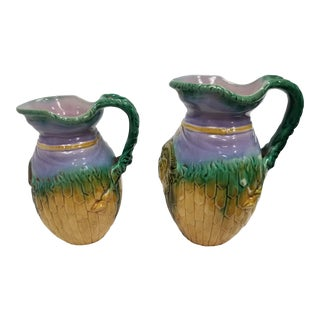 Antique Colorful Majolica Jugs - a Pair For Sale