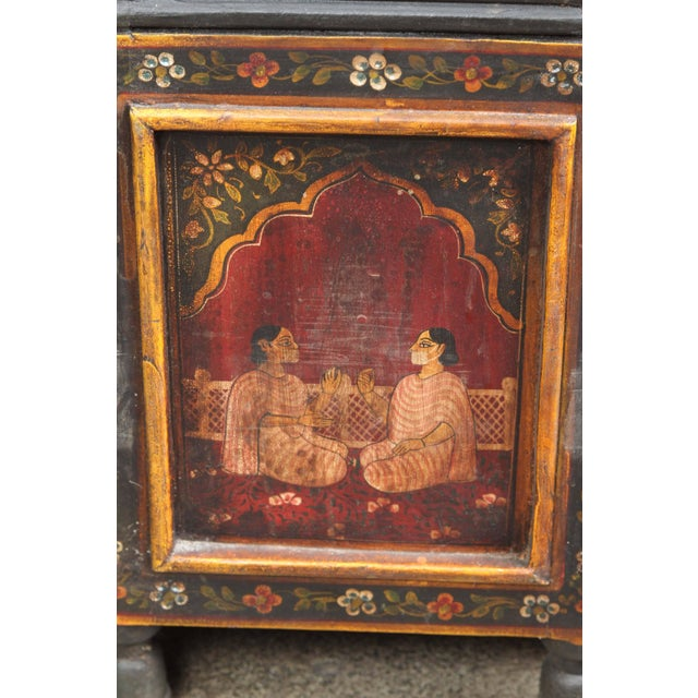 Paint Anglo Indian Hand-Painted Teak Coffee Table For Sale - Image 7 of 10