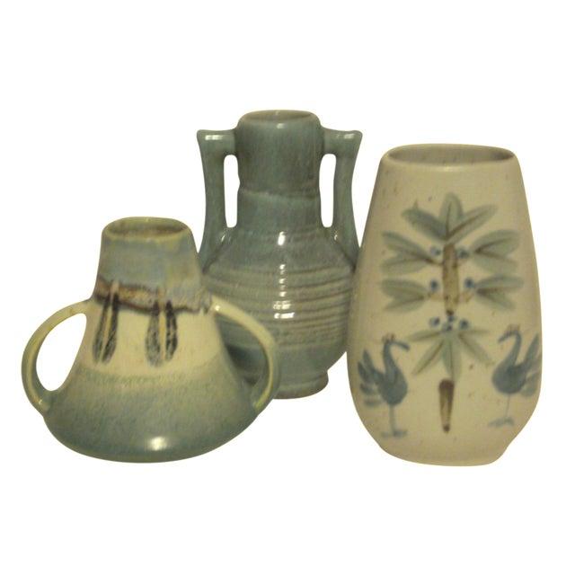 Vintage Aqua Colored Vases - Set of 3 - Image 1 of 11