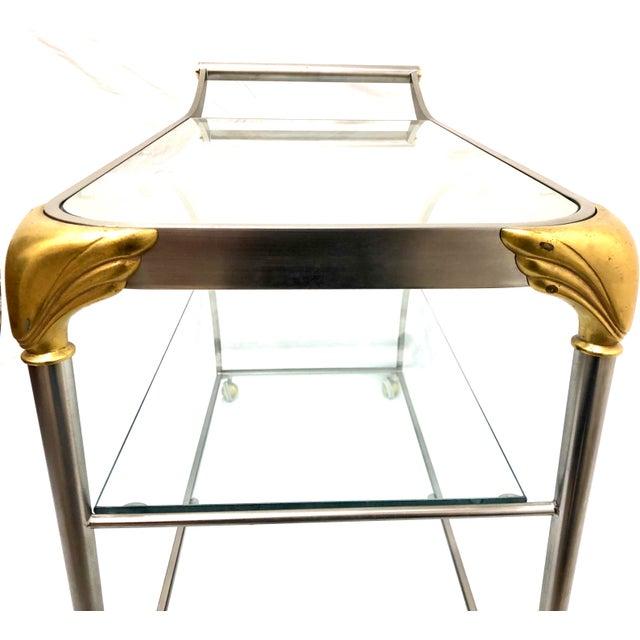 Brass 20th Century Hollywood Regency Steamline Bar Cart For Sale - Image 7 of 12