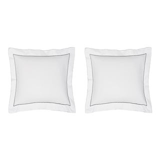 Salerno Bedding Euro Shams, Set of 2 in White/Grey For Sale