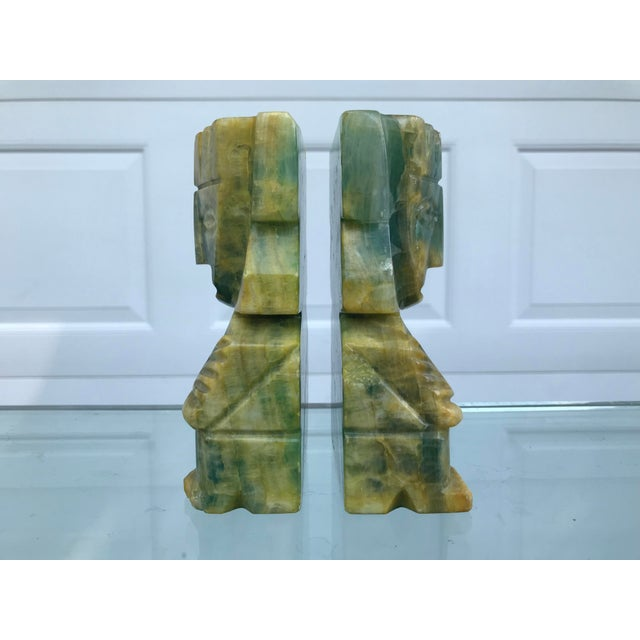 Green and Yellow Carved Onyx Bookends - a Pair For Sale - Image 4 of 8