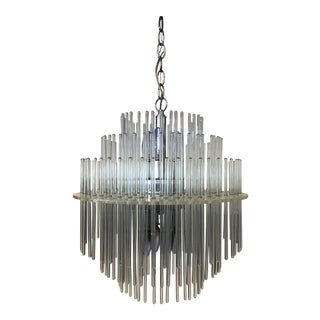 1960s Gaetano Sciolari Lucite & Glass Rod Swag Chandelier