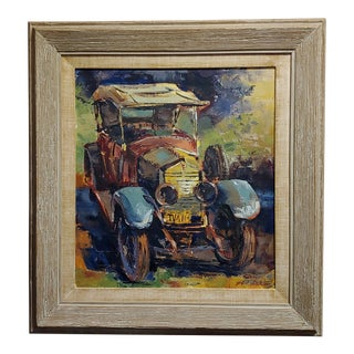 Ben Abril -Vintage 1920s Roll Royce -Oil Painting on Canvas For Sale