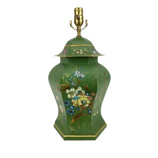 Vintage Chinoiserie Green Tole Temple Jar Lamps
