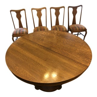 1960s Vintage Oak Dining Table & Chairs - 5 Pieces + 3 Leaves. Must Sell For Sale