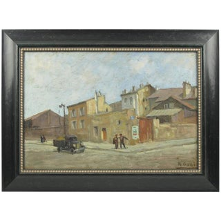 Early 20th Century French Street Scene Oil Painting Signed R. Gori For Sale
