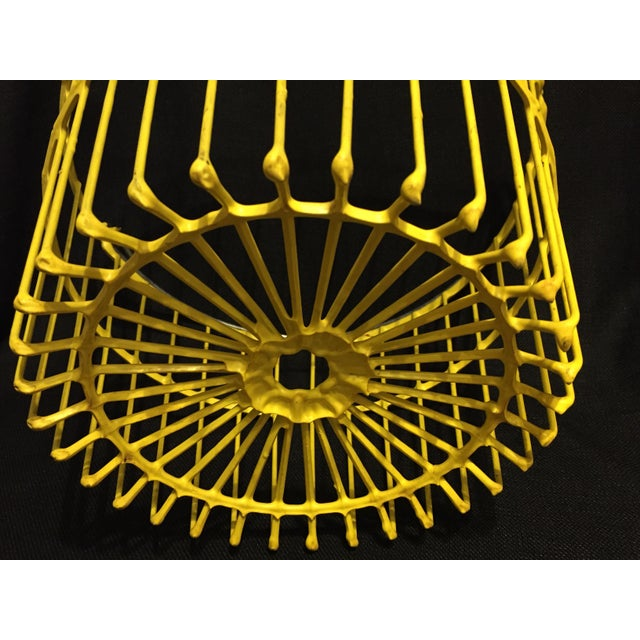 Vintage Industrial Farm Yellow Wire Egg Basket For Sale - Image 5 of 5