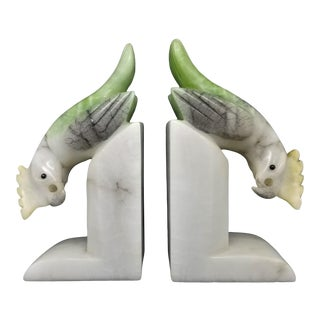 Parrot Bookends or Figurine Sculptures - Art Deco Italian Mid Century Modern Palm Beach Boho Chic Tropical Coastal For Sale