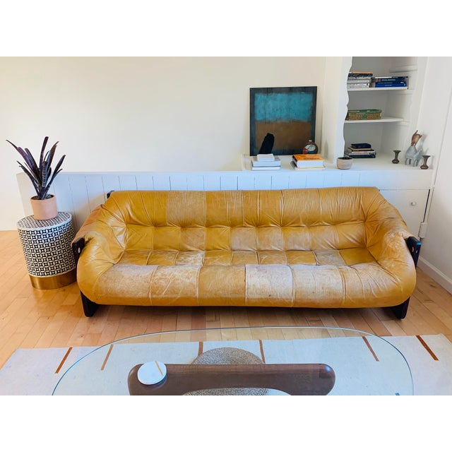 1960s Vintage Percival Lafer Yellow Leather Sofa For Sale - Image 5 of 5