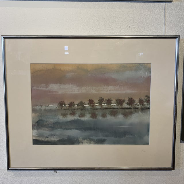Vintage Watercolor Landscape Lake Scene, Signed by the Artist For Sale - Image 10 of 10