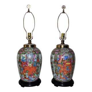 Mid-Century Chinese Export Asian Chinoiserie Famille Rose Medallion Ginger Jar Table Lamps - a Pair For Sale