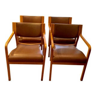 1960s Vintage Thonet Bentwood Stackable Arm Chairs - Set of 4 For Sale