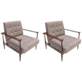 1960s Liceu De Artes Brazilian Jacaranda Armchairs in Grey Linen - a Pair For Sale