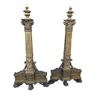 French Architectural Bronze Andirons - a Pair For Sale