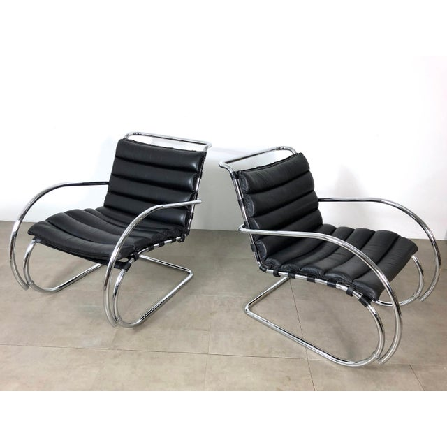 Vintage 1970s Mies Van Der Rohe Style Lounge Chairs - a Pair For Sale - Image 10 of 10