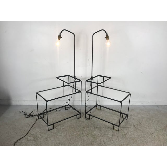 Mid-century wrought iron table & lamp combo in the style of Weinberg, McCobb, Tony Paul. Fabulous, fun fifties lamp and...